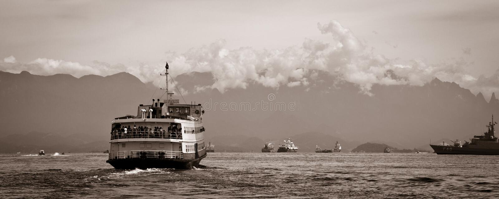 Barca Rio-Niteroi Ferry Boat On Baia De Guanabara Royalty Free Stock Photos