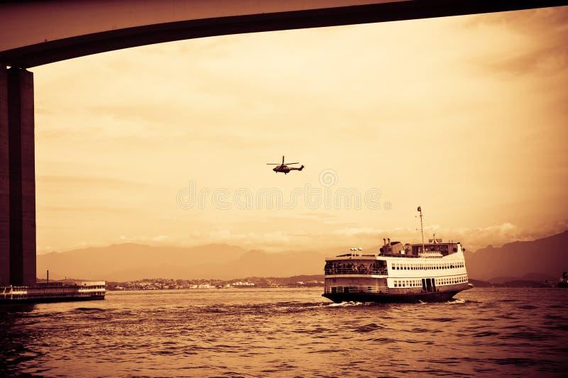 Barca Rio-Niteroi ferry boat on Baia de Guanabara. In Rio de Janeiro, Brazil stock image