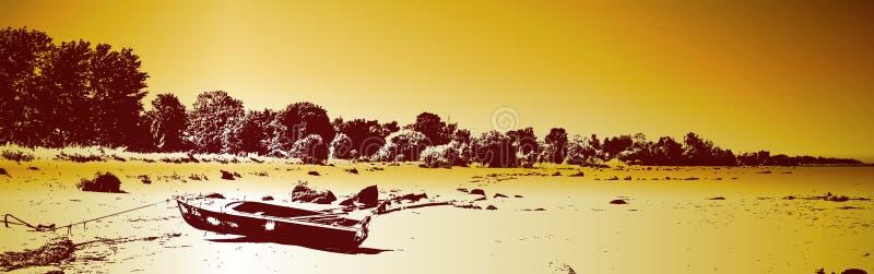 Barca su una spiaggia illustrazione vettoriale