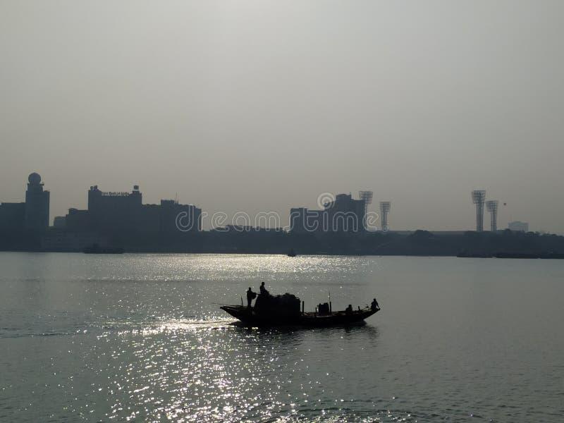 Barca sul fiume Ganga, West Bengal, India immagine stock libera da diritti