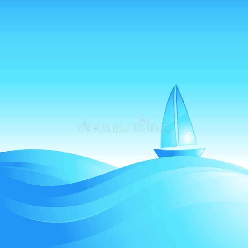 Barca sulle onde del mare.