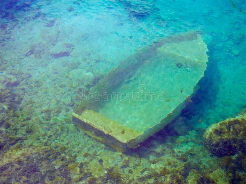 Barca Sunken fotografia stock libera da diritti