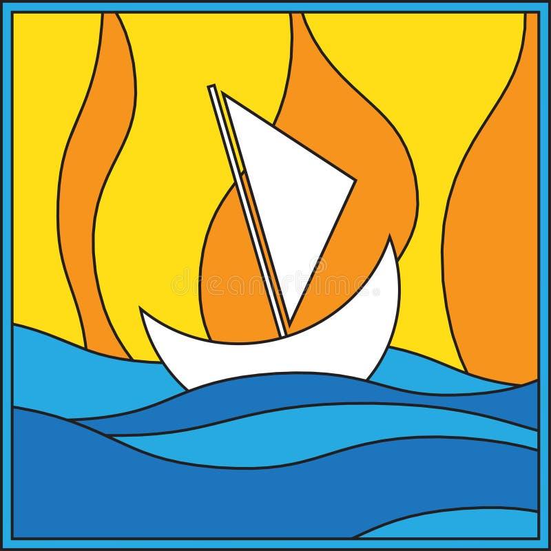 Barca a vela bianca in mare royalty illustrazione gratis