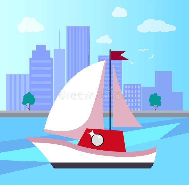 Barca a vela in città sull'illustrazione di vettore del fiume illustrazione vettoriale