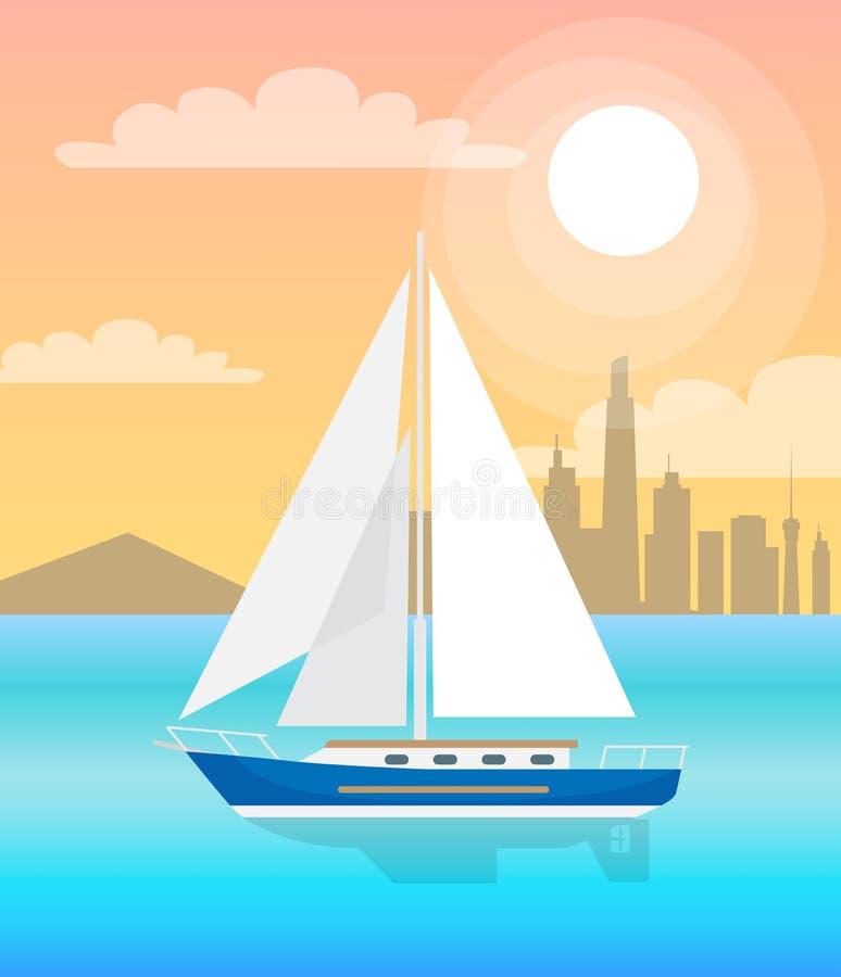 Barca a vela con acqua blu delle vele al vettore di tramonto illustrazione di stock