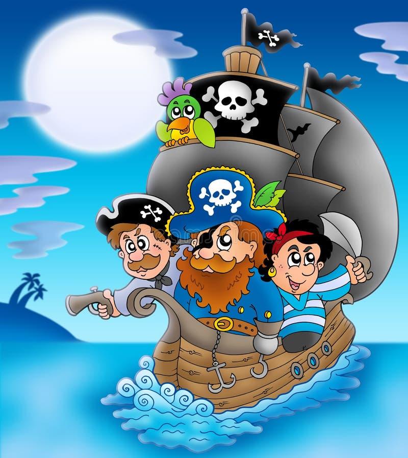 Barca a vela con i pirati del fumetto alla notte illustrazione di stock