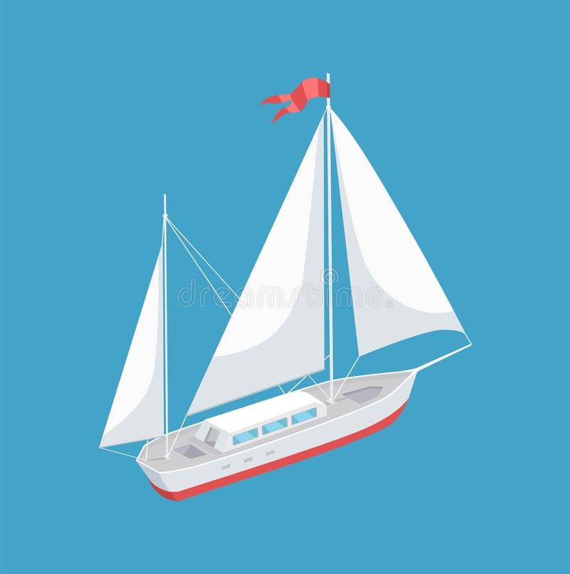 Barca a vela con l'icona bianca di vettore di navigazione della tela illustrazione vettoriale