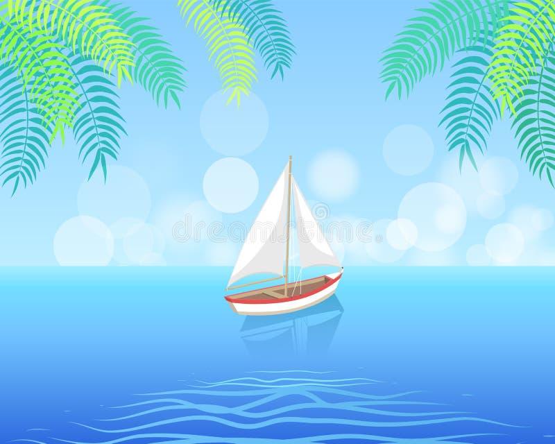 Barca a vela con la navigazione bianca della tela in acque profonde royalty illustrazione gratis