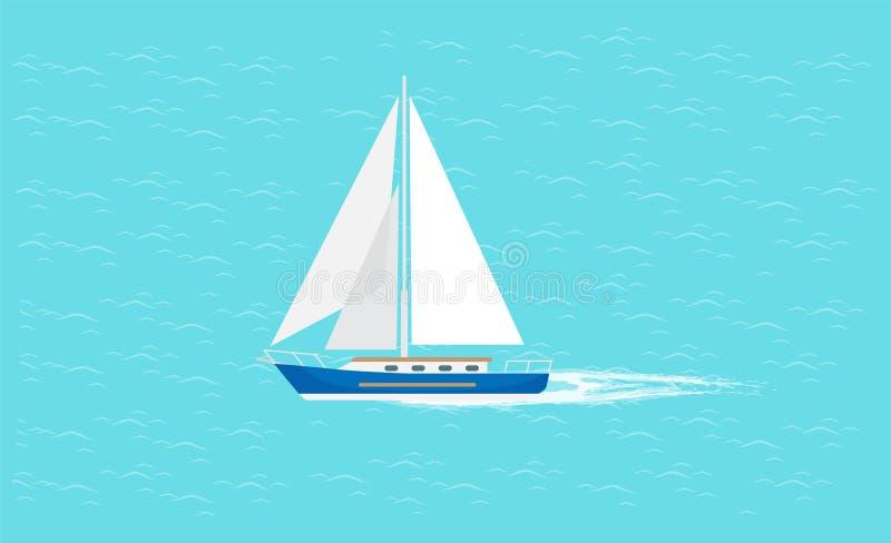Barca a vela con la navigazione bianca della tela in acque profonde illustrazione di stock