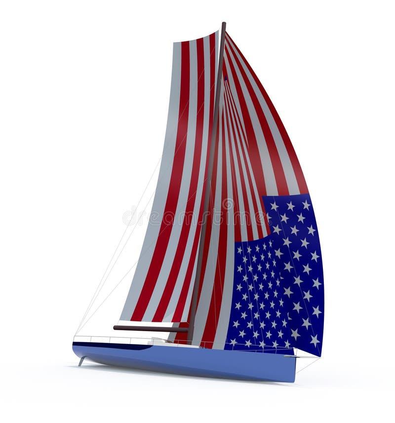 Barca a vela con la vela colorata come bandiera americana illustrazione vettoriale