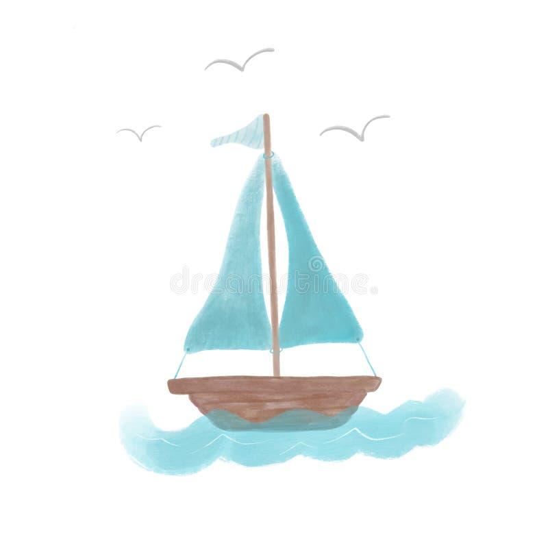 Barca a vela con le vele blu e una piccola bandiera a strisce sulle onde Illustrazione nei colori pastelli su un fondo bianco royalty illustrazione gratis