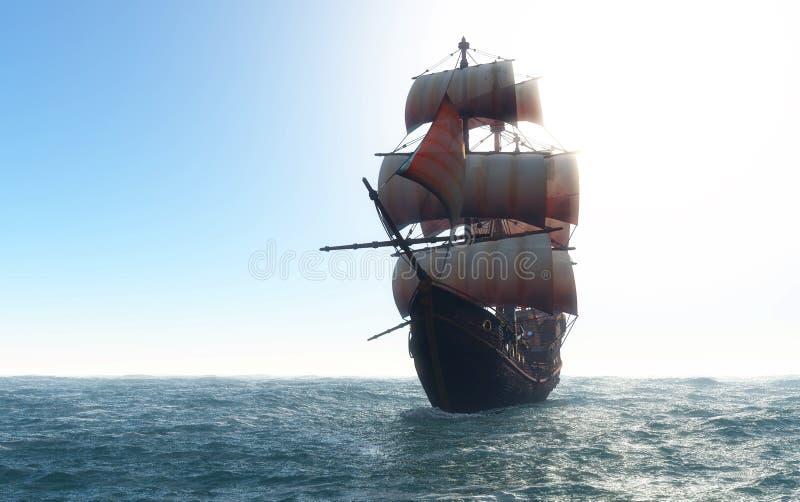 Barca a vela d'annata illustrazione vettoriale