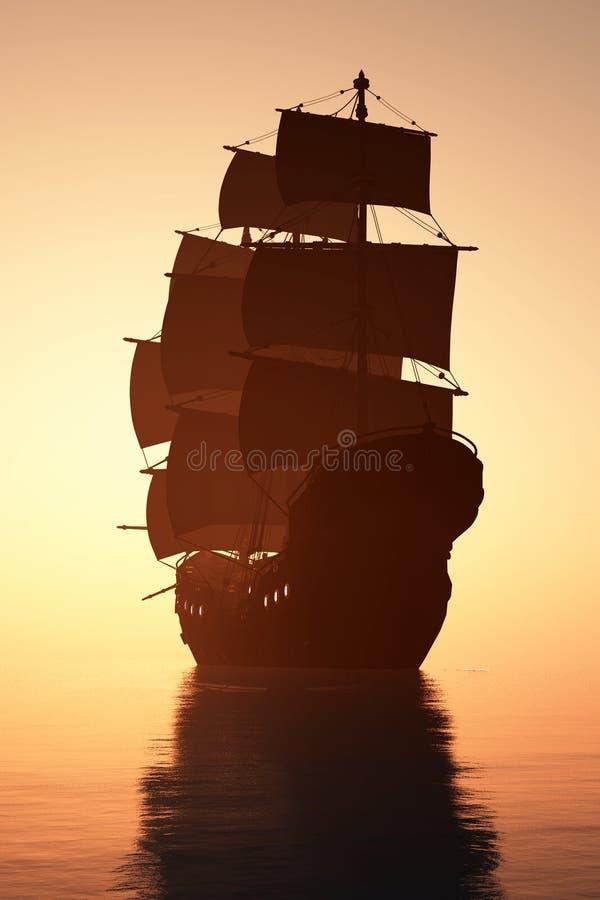 Barca a vela d'annata illustrazione di stock