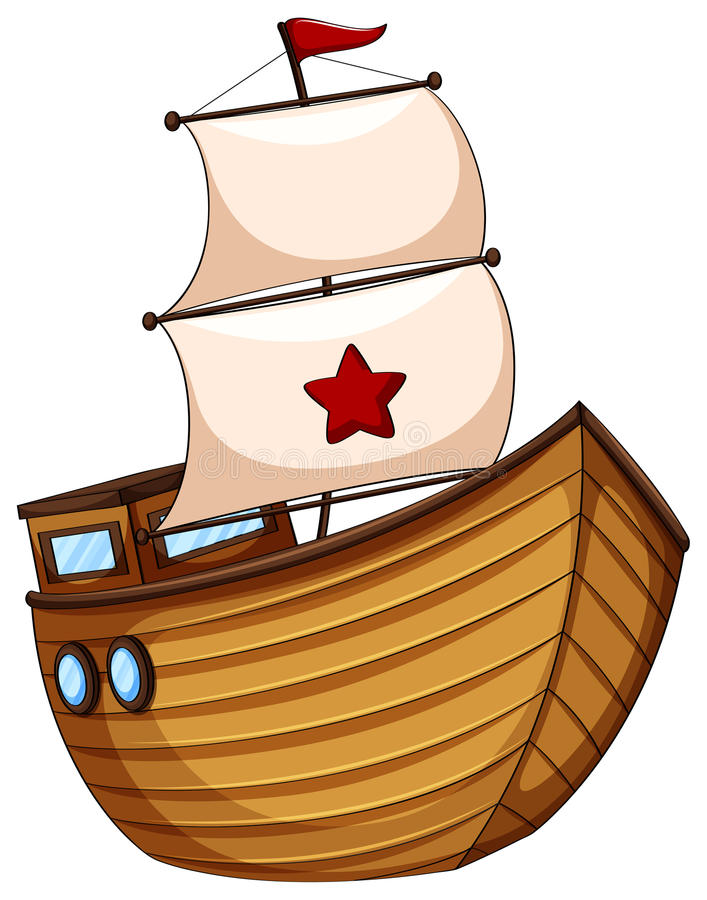 Barca a vela di legno con la bandiera illustrazione di stock