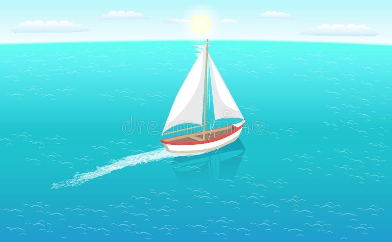 Barca a vela di Marine Nautical Personal Fishing Ship illustrazione vettoriale