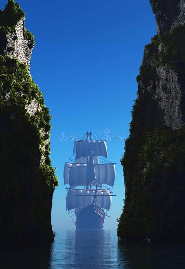 Barca a vela e roccia illustrazione vettoriale