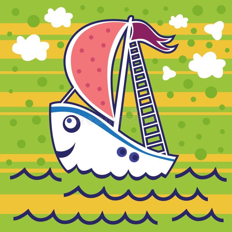 Barca a vela felice con una vela rosa e una bandiera porpora illustrazione di stock