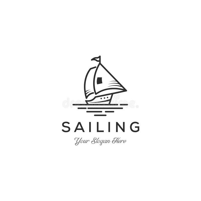 Barca a vela minimalista - illustrazione di concetto del modello di logo di vettore Segno della nave Elemento di disegno illustrazione vettoriale