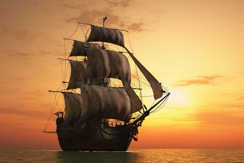 Barca a vela nel mare. illustrazione di stock