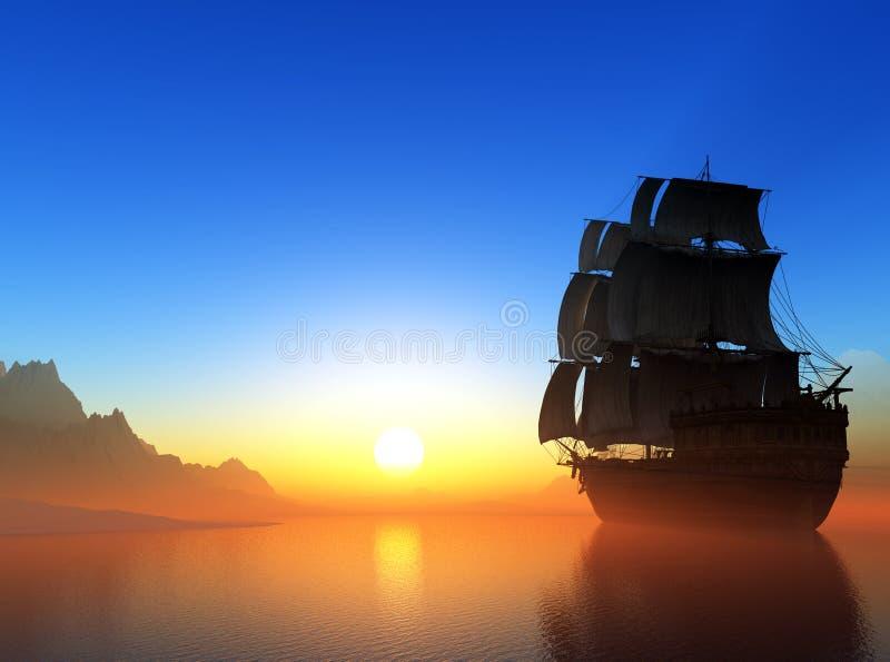 Barca a vela nel mare. royalty illustrazione gratis