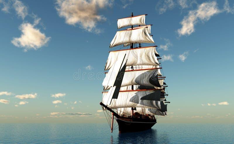 Barca a vela nel mare. illustrazione vettoriale