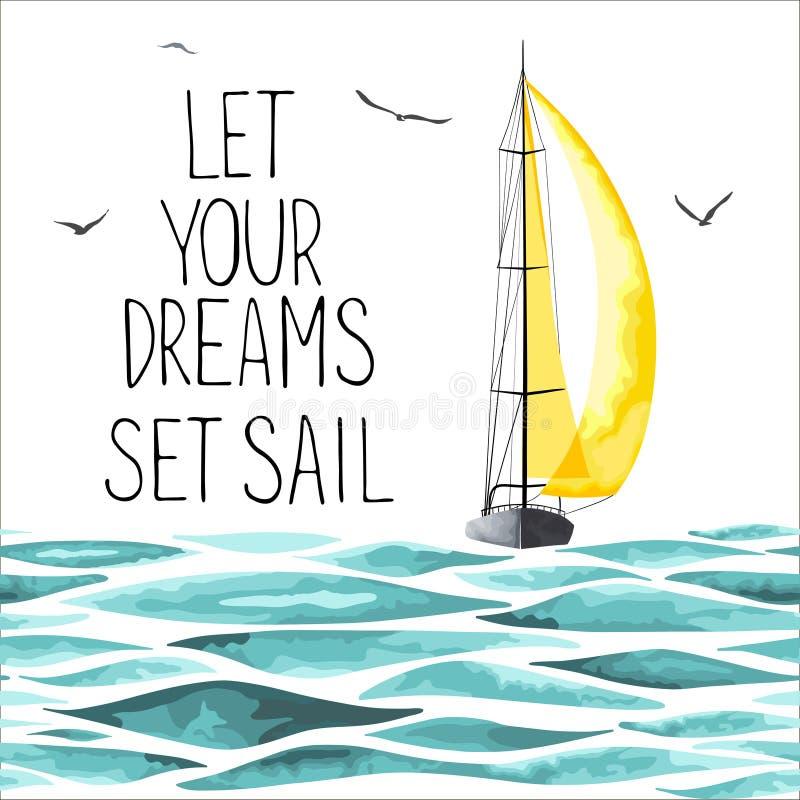 Barca a vela nel mare e nei gabbiani intorno illustrazione di stock