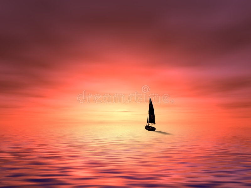 Barca a vela nel tramonto illustrazione di stock