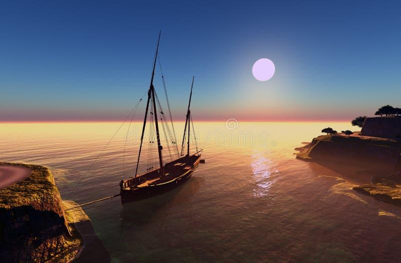 Barca a vela nella laguna illustrazione vettoriale