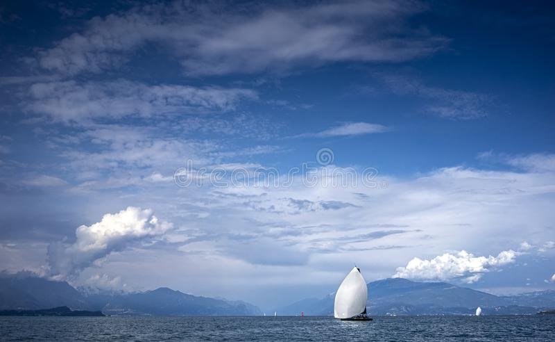 Barca a vela a regata immagini stock