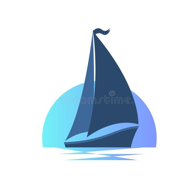 Barca a vela sulle onde al tramonto illustrazione vettoriale