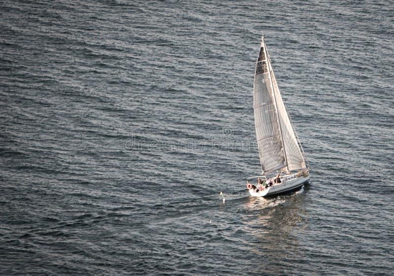 Sailboat sailing in the sea stock photo