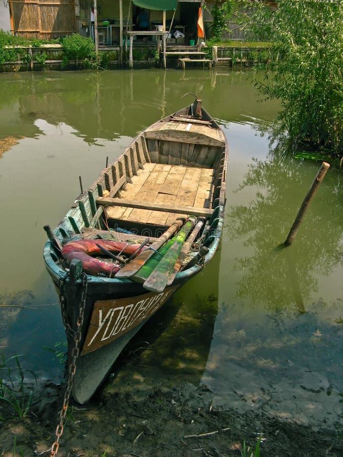 Barca in Vilkovo (Ucraina) fotografia stock