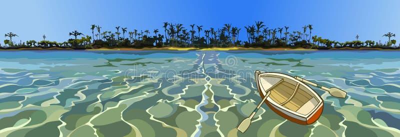 Barca vuota del fumetto che galleggia nel mare fuori dalla costa tropicale royalty illustrazione gratis