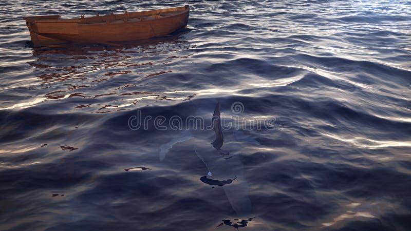 Barca vuota nelle onde di oceano illustrazione di stock