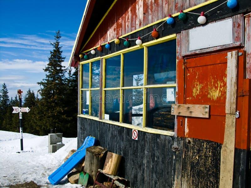Barcaciu hut in Carpathian Mt stock photo