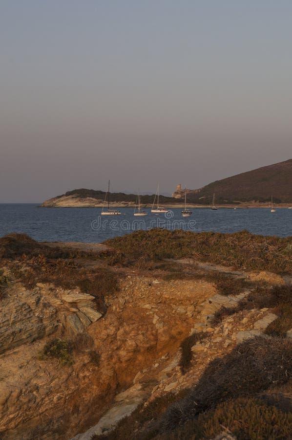 Barcaggio, Cap Corse, Cape Corse, Haute-Corse, Corsica, France, island, Europe. Corsica, 29/08/2017: sailboats at sunset in the Mediterranean Sea in Barcaggio royalty free stock image