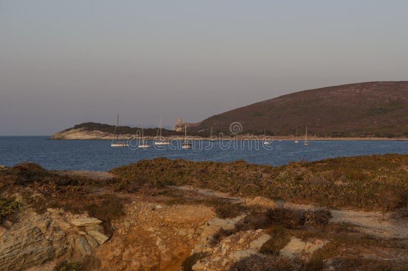 Barcaggio, Cap Corse, Cape Corse, Haute-Corse, Corsica, France, island, Europe. Corsica, 29/08/2017: sailboats at sunset in the Mediterranean Sea in Barcaggio stock images
