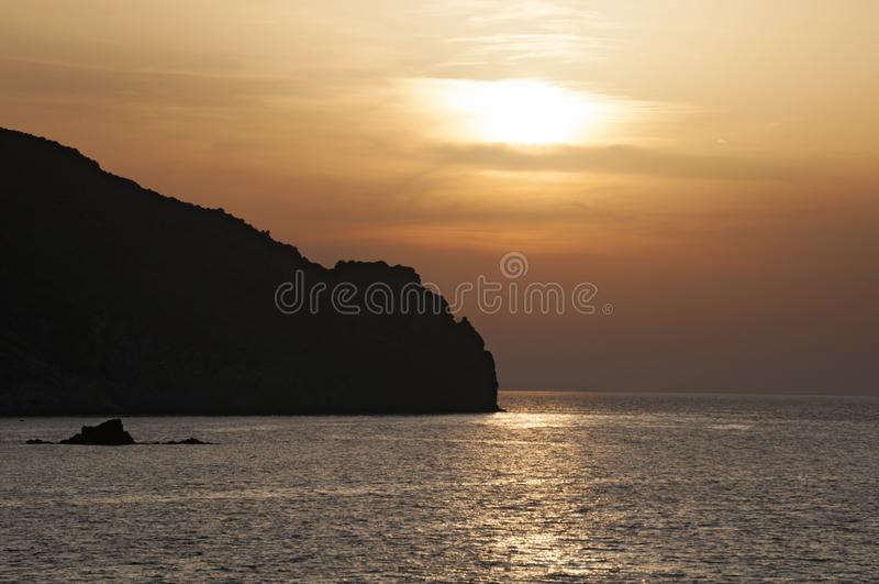 Barcaggio, Cap Corse, Cape Corse, Haute-Corse, Corsica, France, island, Europe. Corsica, 29/08/2017: sunset on the coastline in the Mediterranean Sea in royalty free stock images