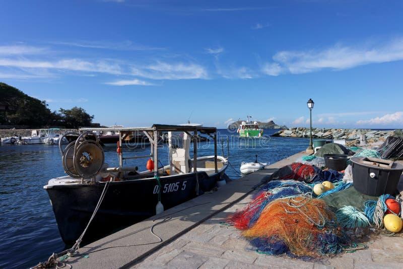 Barcaggio harbor royalty free stock image