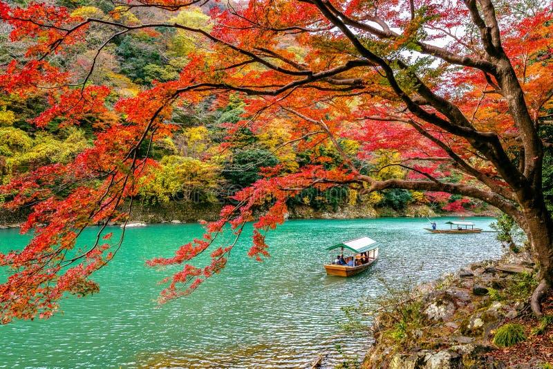 Barcaiolo che calcia la barca al fiume Arashiyama nella stagione di autunno lungo il fiume a Kyoto, Giappone immagine stock
