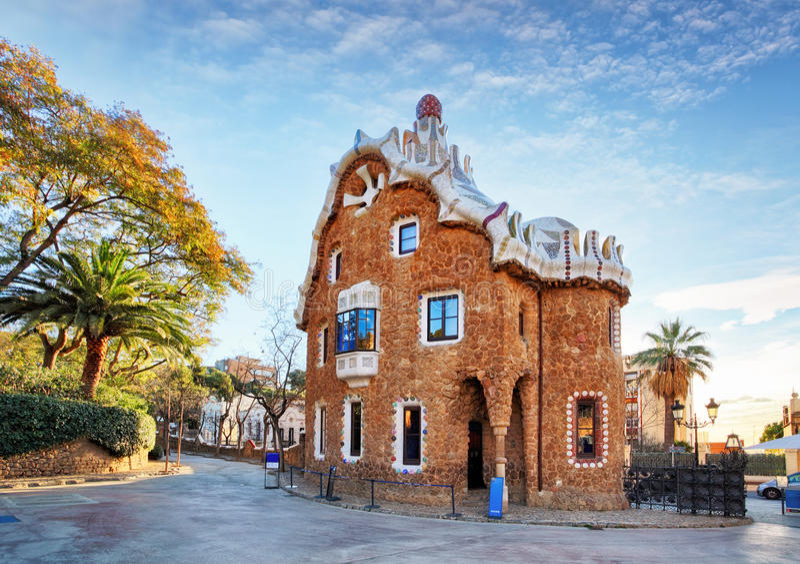 Barcellona, parco Guell, Spagna - nessuno fotografie stock