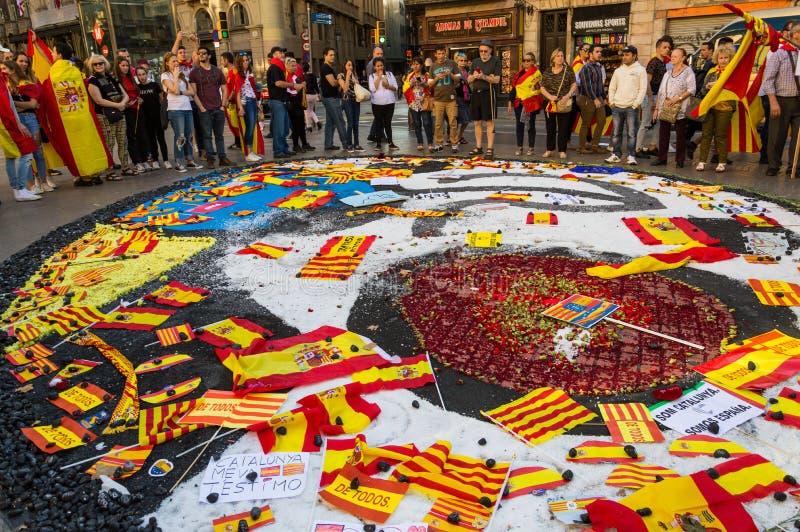Barcellona, Spagna 8 ottobre, protesta contro l'indipendenza della Catalogna fotografia stock