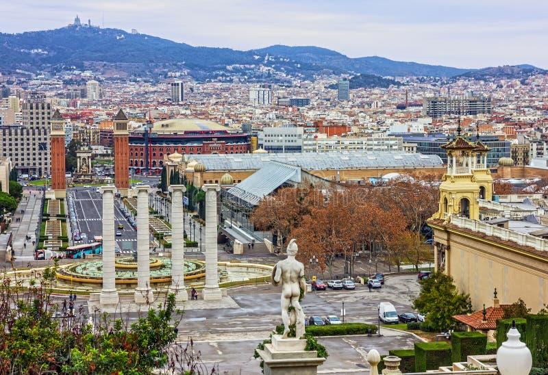 Barcellona, Spagna Vista panoramica della città Placa De Espanya immagine stock libera da diritti