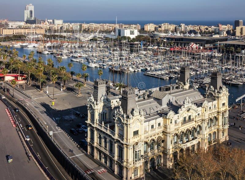 Barcellona, Spagna Visualizzazione panoramica dell'argine di Vell della porta immagine stock