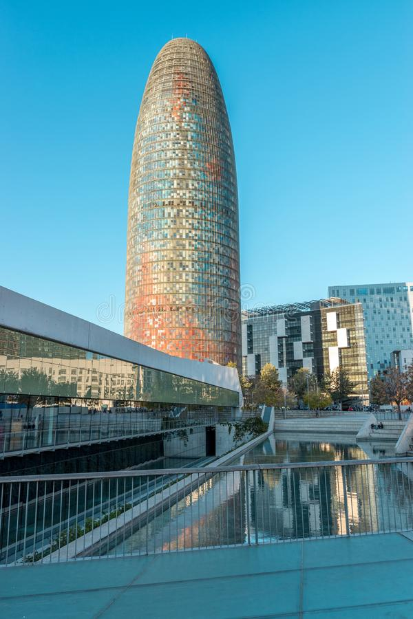 Barcelona, ​​Spain - March 15, 2019: View of the Agbar Tower in Barcelona. Spain.  royalty free stock photography