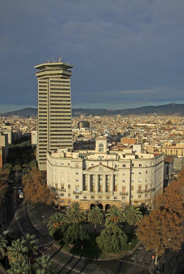barcelona Испания Башня и участок Колумбуса военноморские стоковое фото