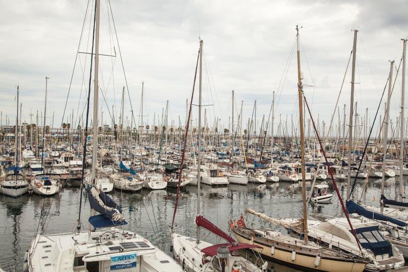 barcelona олимпийская гаван Испания стоковые фотографии rf
