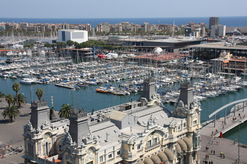 Barcelona. Cityscape. Aerial view seen from the Columbus Column. Port Vell, marina and Barceloneta district stock image