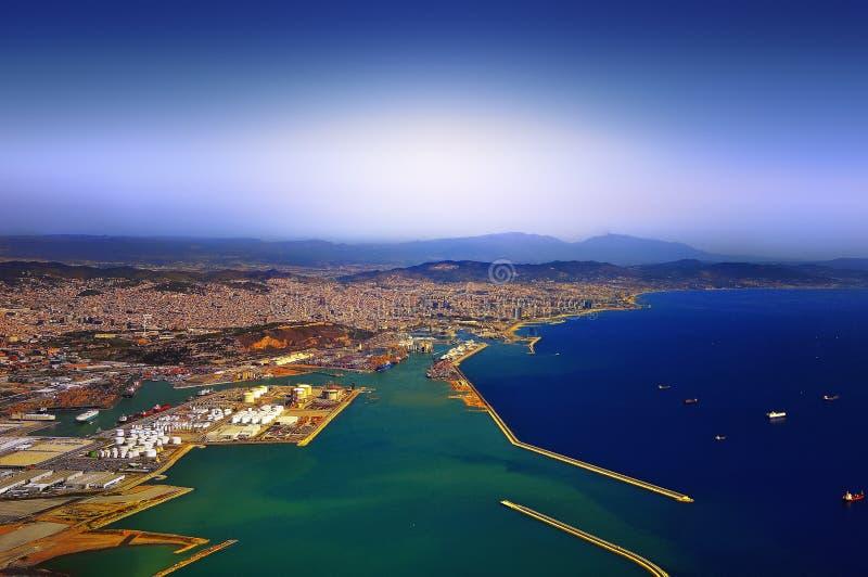 Download Barcelona stock image. Image of blue, aerial, coastline - 12196401