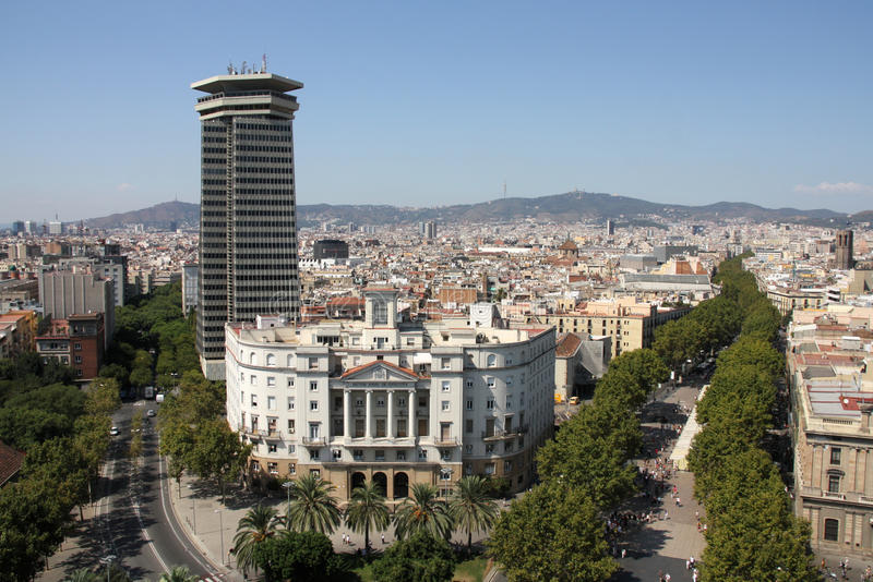 Barcelona. Cityscape. Aerial view seen from the Columbus Column. Famous Ramblas on the right royalty free stock image